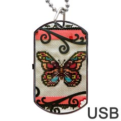 Cross Stitch Butterfly Dog Tag Usb Flash (two Sides)