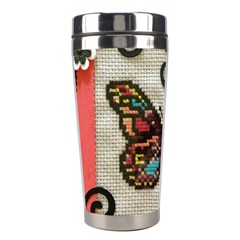 Cross Stitch Butterfly Stainless Steel Travel Tumblers by DeneWestUK
