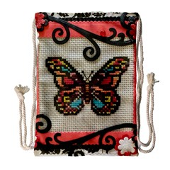 Cross Stitch Butterfly Drawstring Bag (large)