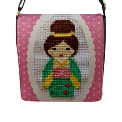 Cross Stitch Kimono Flap Closure Messenger Bag (l) by DeneWestUK