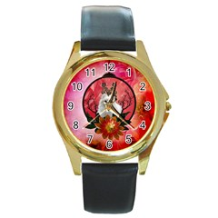 Cute Pemeranian With Flowers Round Gold Metal Watch