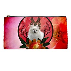 Cute Pemeranian With Flowers Pencil Cases