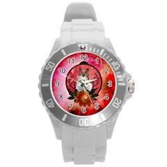 Cute Pemeranian With Flowers Round Plastic Sport Watch (l) by FantasyWorld7