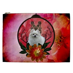 Cute Pemeranian With Flowers Cosmetic Bag (xxl)