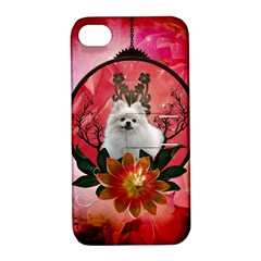 Cute Pemeranian With Flowers Apple Iphone 4/4s Hardshell Case With Stand by FantasyWorld7