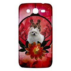 Cute Pemeranian With Flowers Samsung Galaxy Mega 5 8 I9152 Hardshell Case
