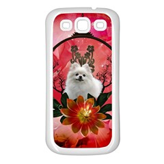 Cute Pemeranian With Flowers Samsung Galaxy S3 Back Case (white)