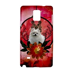 Cute Pemeranian With Flowers Samsung Galaxy Note 4 Hardshell Case by FantasyWorld7
