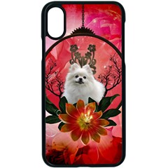 Cute Pemeranian With Flowers Apple Iphone X Seamless Case (black) by FantasyWorld7