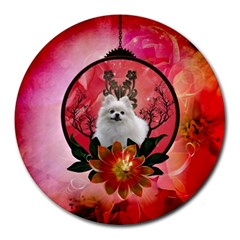Cute Pemeranian With Flowers Round Mousepads by FantasyWorld7