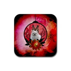 Cute Pemeranian With Flowers Rubber Square Coaster (4 Pack)  by FantasyWorld7