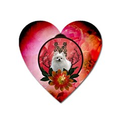 Cute Pemeranian With Flowers Heart Magnet by FantasyWorld7