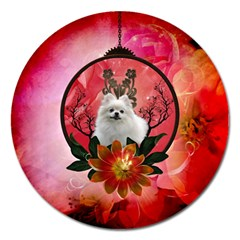 Cute Pemeranian With Flowers Magnet 5  (round)