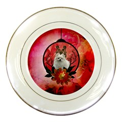 Cute Pemeranian With Flowers Porcelain Plates by FantasyWorld7