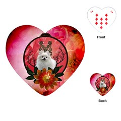 Cute Pemeranian With Flowers Playing Cards (heart)