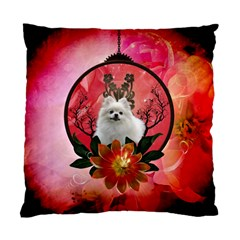 Cute Pemeranian With Flowers Standard Cushion Case (two Sides) by FantasyWorld7