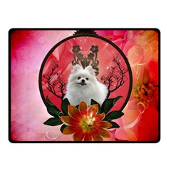 Cute Pemeranian With Flowers Fleece Blanket (small) by FantasyWorld7