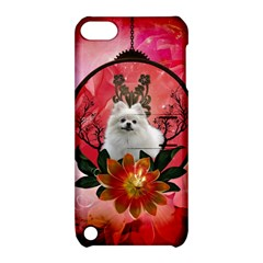 Cute Pemeranian With Flowers Apple Ipod Touch 5 Hardshell Case With Stand