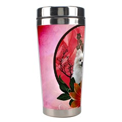 Cute Pemeranian With Flowers Stainless Steel Travel Tumblers
