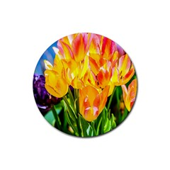 Festival Of Tulip Flowers Rubber Round Coaster (4 Pack)  by FunnyCow
