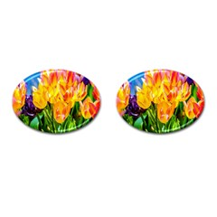 Festival Of Tulip Flowers Cufflinks (oval) by FunnyCow