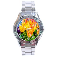 Festival Of Tulip Flowers Stainless Steel Analogue Watch