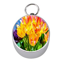 Festival Of Tulip Flowers Mini Silver Compasses by FunnyCow