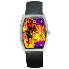 Fancy Tulip Flowers In Spring Barrel Style Metal Watch by FunnyCow