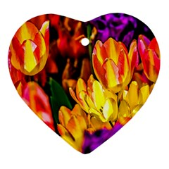 Fancy Tulip Flowers In Spring Heart Ornament (two Sides) by FunnyCow