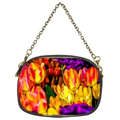 Fancy Tulip Flowers In Spring Chain Purse (one Side)