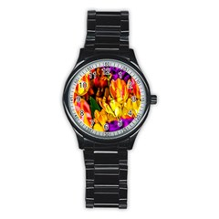 Fancy Tulip Flowers In Spring Stainless Steel Round Watch by FunnyCow