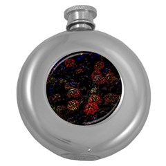 Floral Fireworks Round Hip Flask (5 Oz) by FunnyCow