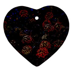 Floral Fireworks Heart Ornament (two Sides) by FunnyCow