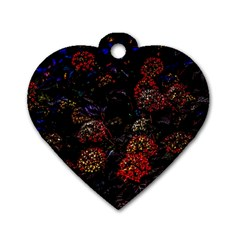 Floral Fireworks Dog Tag Heart (two Sides)