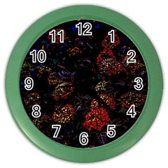 Floral Fireworks Color Wall Clock by FunnyCow
