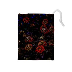 Floral Fireworks Drawstring Pouch (medium) by FunnyCow