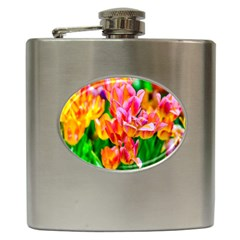 Blushing Tulip Flowers Hip Flask (6 Oz) by FunnyCow
