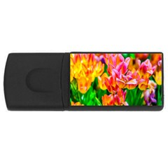 Blushing Tulip Flowers Rectangular Usb Flash Drive