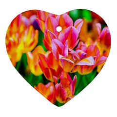 Blushing Tulip Flowers Heart Ornament (two Sides) by FunnyCow