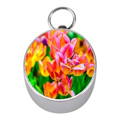Blushing Tulip Flowers Mini Silver Compasses by FunnyCow