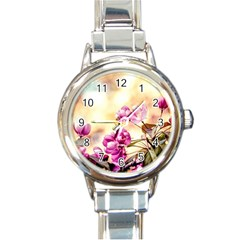 Paradise Apple Blossoms Round Italian Charm Watch by FunnyCow