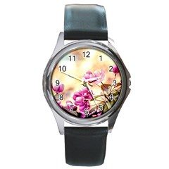 Paradise Apple Blossoms Round Metal Watch by FunnyCow