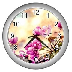 Paradise Apple Blossoms Wall Clock (silver) by FunnyCow