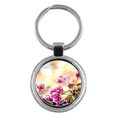 Paradise Apple Blossoms Key Chains (round)  by FunnyCow