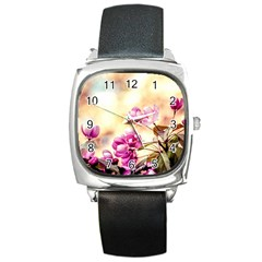 Paradise Apple Blossoms Square Metal Watch