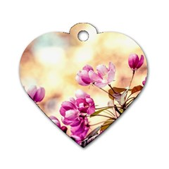 Paradise Apple Blossoms Dog Tag Heart (two Sides) by FunnyCow