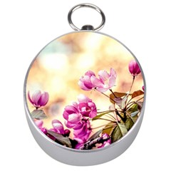 Paradise Apple Blossoms Silver Compasses by FunnyCow