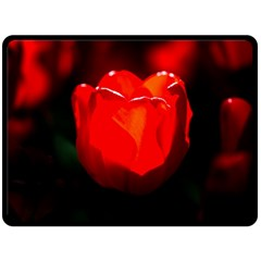 Red Tulip A Bowl Of Fire Fleece Blanket (large)