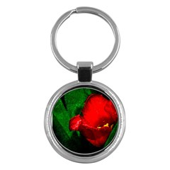 Red Tulip After The Shower Key Chains (round)