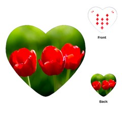 Three Red Tulips, Green Background Playing Cards (heart) by FunnyCow